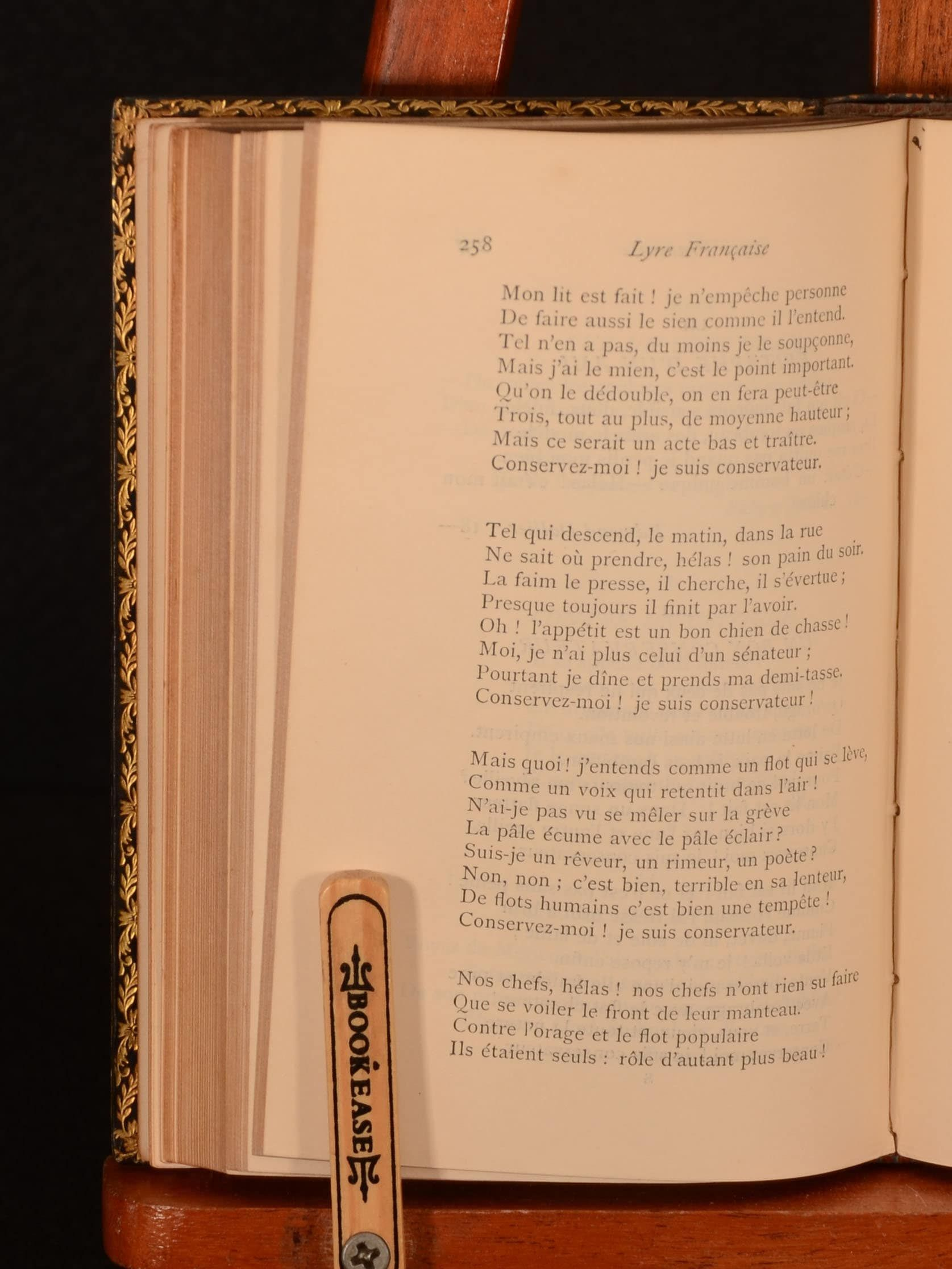 This work is a collection of French songs throughout history, documenting the history of French song. The work includes religious songs, hymns, patriotic and warlike songs, bacchanalian songs, love songs, satirical songs, and historical songs. Complied by George Gustave Masson. Masson was an educational writer who was educated in France, going on to write and translate a number of French classics, as well as writing many books on French literature and history. In a signed full calf binding by Za
