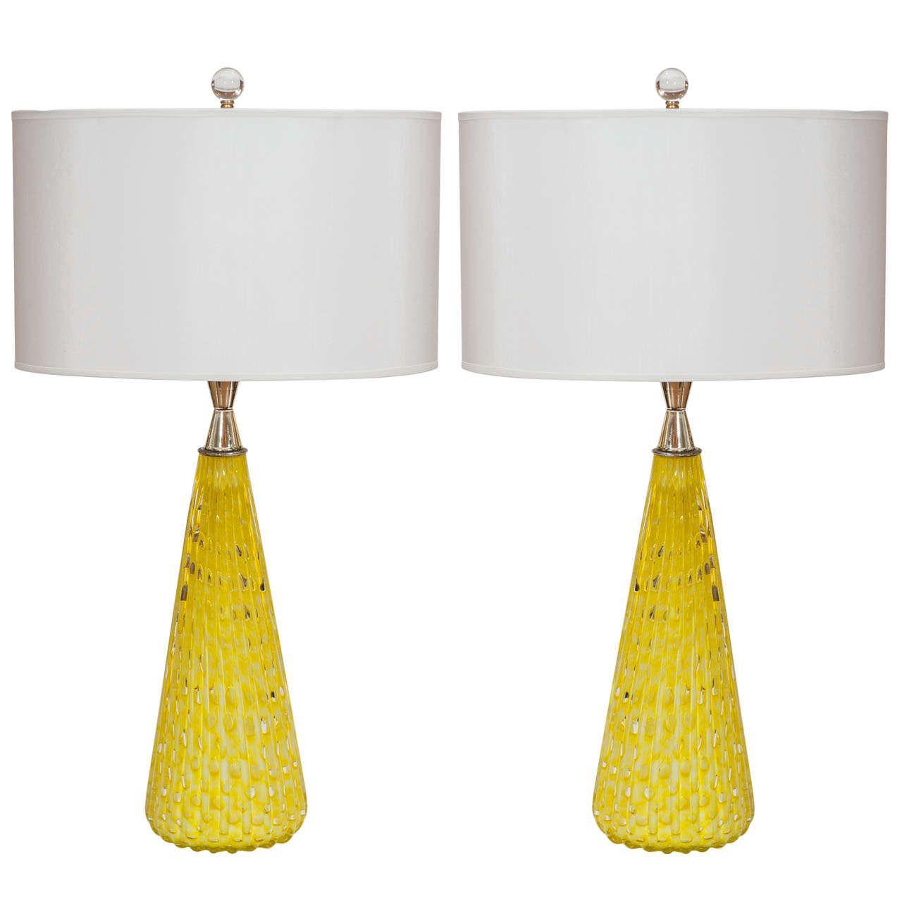 Chandeliers Pair Of Citrus Yellow Murano Lamps