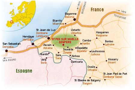 Carte Pays Basque : Bayonne, Biarritz, St Jean de Luz, Hendaye