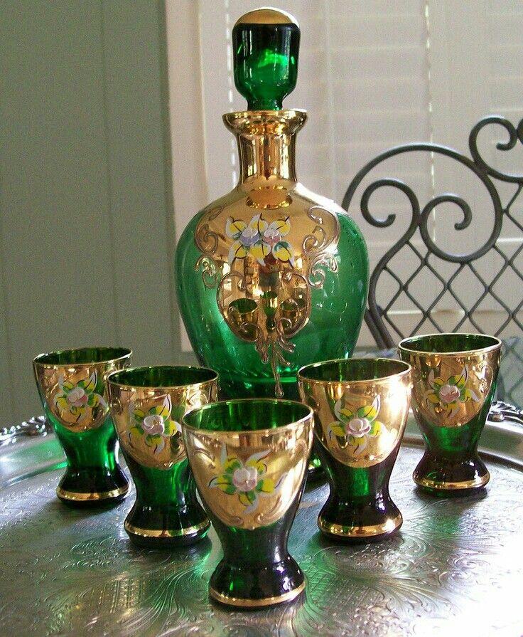 Moser  Vintage Czech Bohemian Hand painted Emerald Green