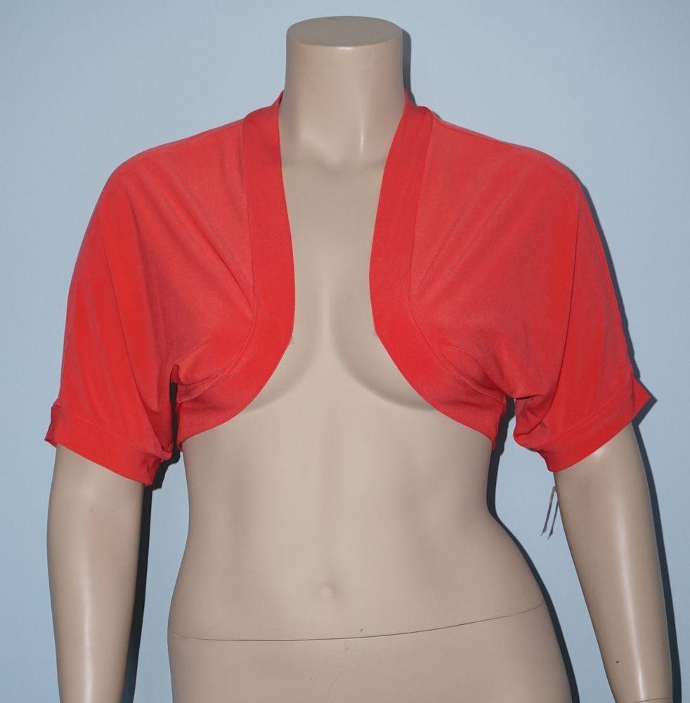 Dressbarn NWT 22 3x Coral Pink Short Sleeve Cropped Bolero Shrug ...