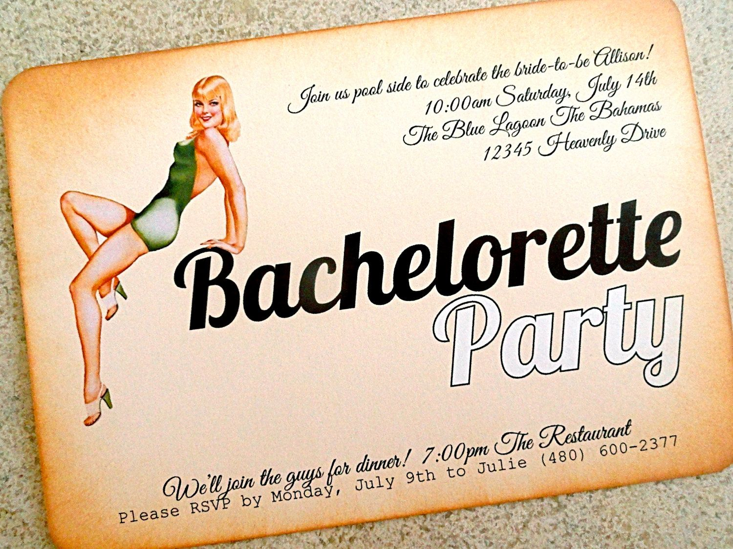 Bachelorette Party Invitation - Vintage Pin Up Girl Poolside ...