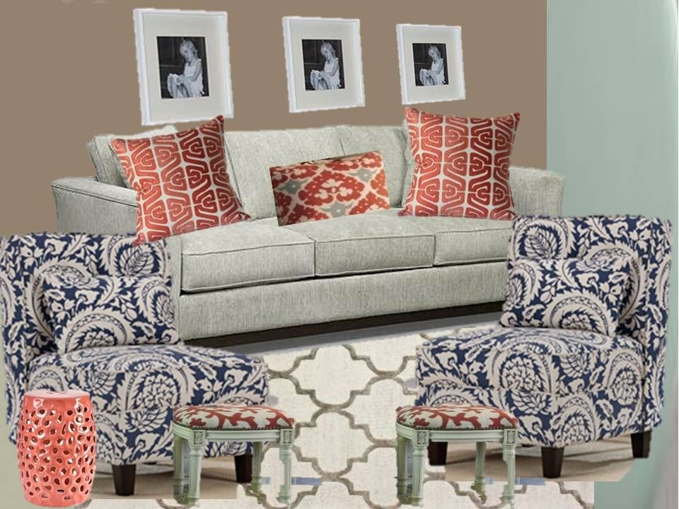 Navy Blue And Teal Coral Living Room | ... Background To Help Anchor The Part 81