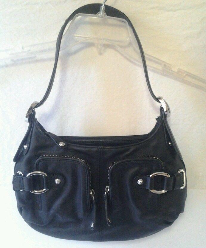 b2db2ca611 MAXX New York 5th Ave Genuine Leather Black handbag Baguette Adjustable  Strap #MaxxNewYork5thAve #Baguette