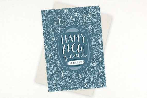 Funny Happy New Year 2020.New Years Card Happy New Year 2020 Hand Drawn Pattern
