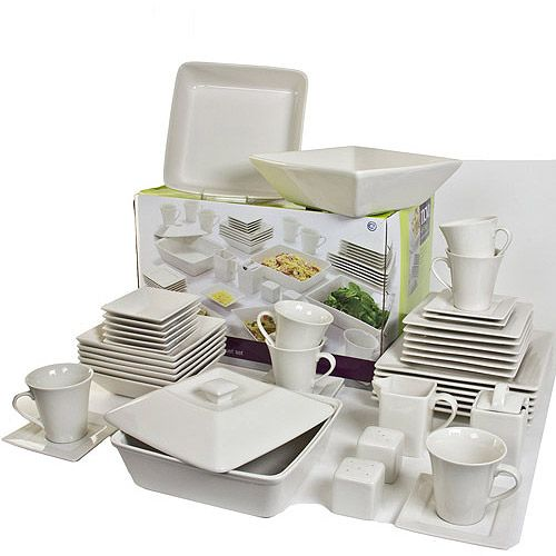 10 Strawberry Street Nova Square Banquet 45 Piece Dinnerware Set Cream White