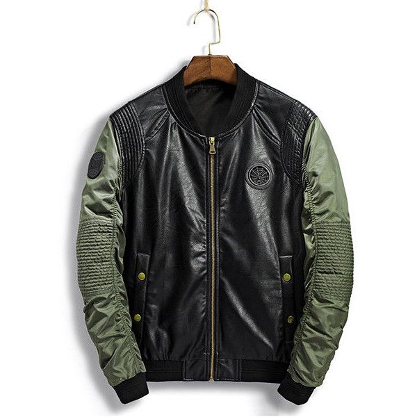 9db4019d825 Faux Leather Inside Pocket Bomber Jacket ( 54) ❤ liked on Polyvore  featuring men s fashion