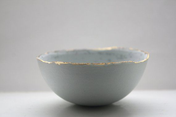 Stoneware Parian Porcelain Bowl In Duck Egg Blue With Mat Gold