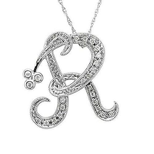 14k White Gold Alphabet Initial R Diamond Pendant Necklace 012 Carat Want Additional Black Diamond Pendant Initial Necklace Silver Diamond Pendant Necklace