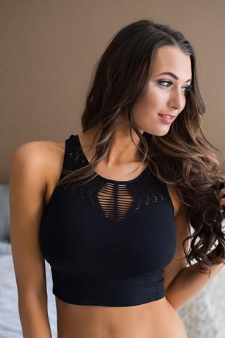 a0eb45890f5 Just One Night Shredded Design Racer Back Crop Top (Black)