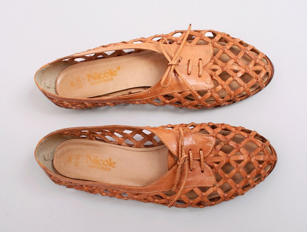 Vintage 197039s Tan Woven Leather Flat Oxford Shoes Size