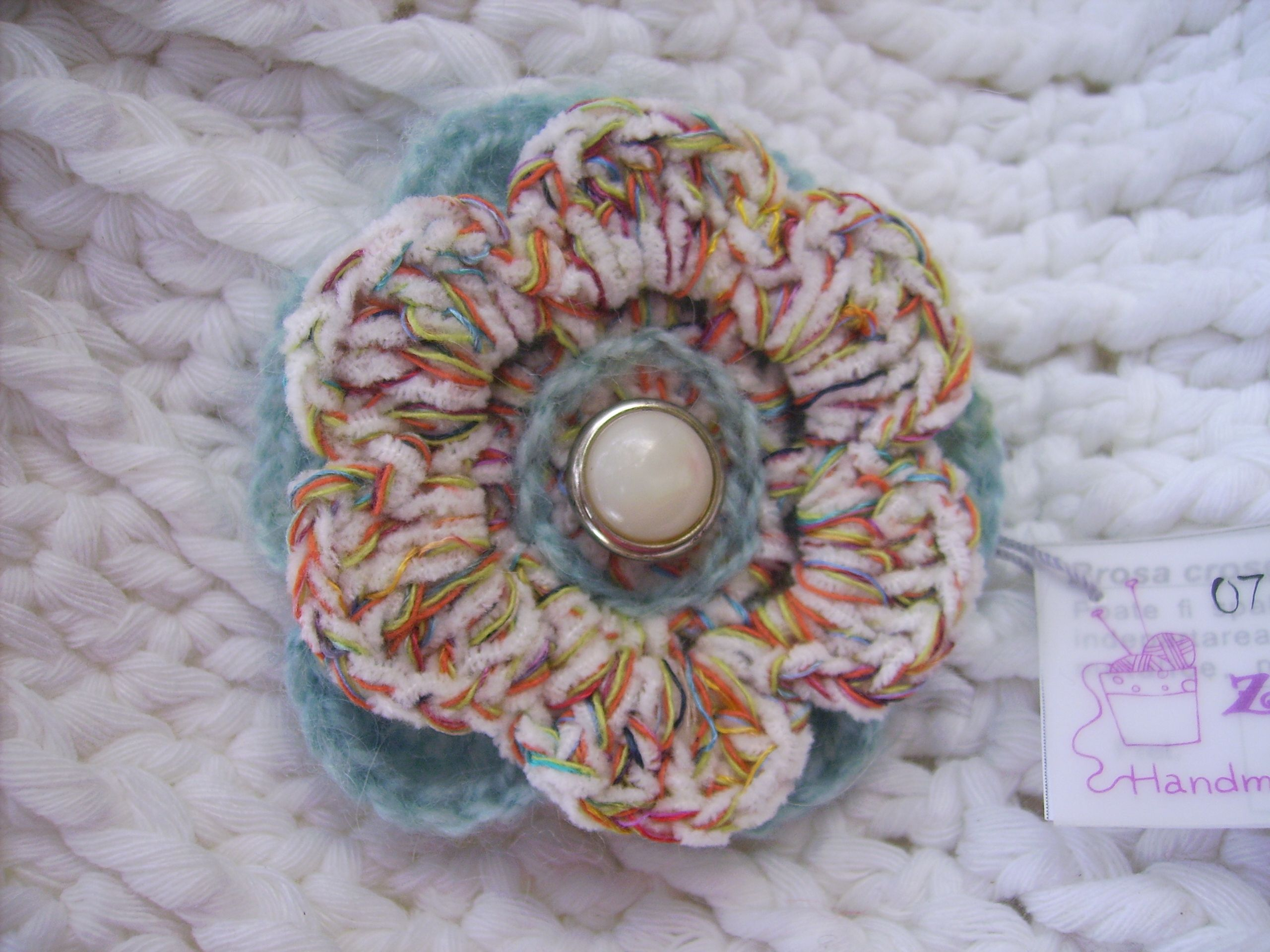 in at sewn diameter stability button approx originals brooch knitted to and hand crocheted cm back brooches inches flower for with centre kooky