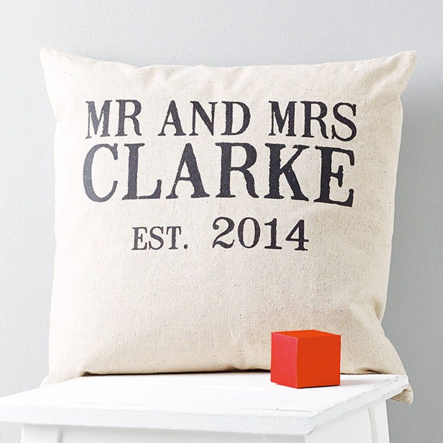 personalised 'mr and mrs' linen wedding cushion by tillyanna | notonthehighstreet.com