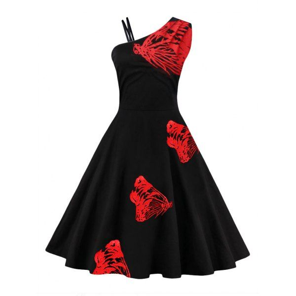 fe56a50550 One Shoulder Butterfly Embroidered Flare Dress - Red S   Fashion ...