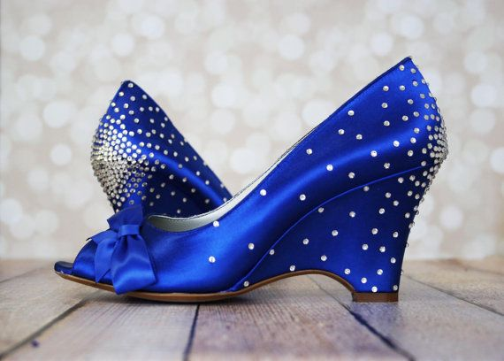 Wedding Shoes Royal Blue Wedge With Off Center Matching Bow On The Toe And Starburst Rhinestone Heel