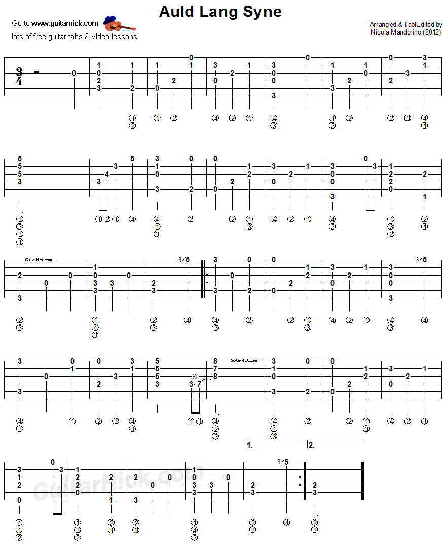 Auld Lang Syne Fingerstyle Guitar Tablature Guitar Tabs Guitar Strumming Fingerstyle Guitar
