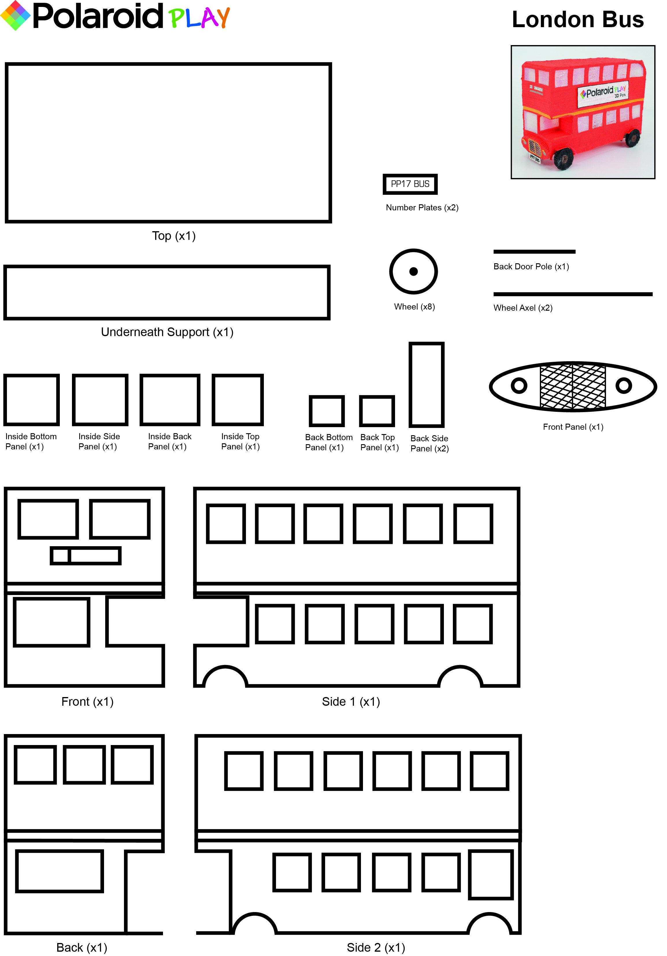Create This Awesome London Bus Model With This Easy To Use Stencil Polaroid3d Polaroid Polaroidplay 3d Pen Art 3d Pen Stencils Doodler Pen