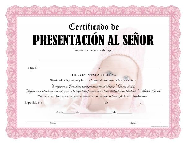 Certificados de Presentación al Señor para Imprimir Gratis ...