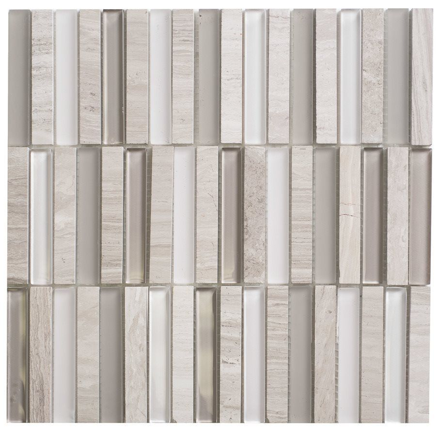 Faber 12-in x 12-in Opus Escarpment Glass & Marble Mosaic Wall Tile ...