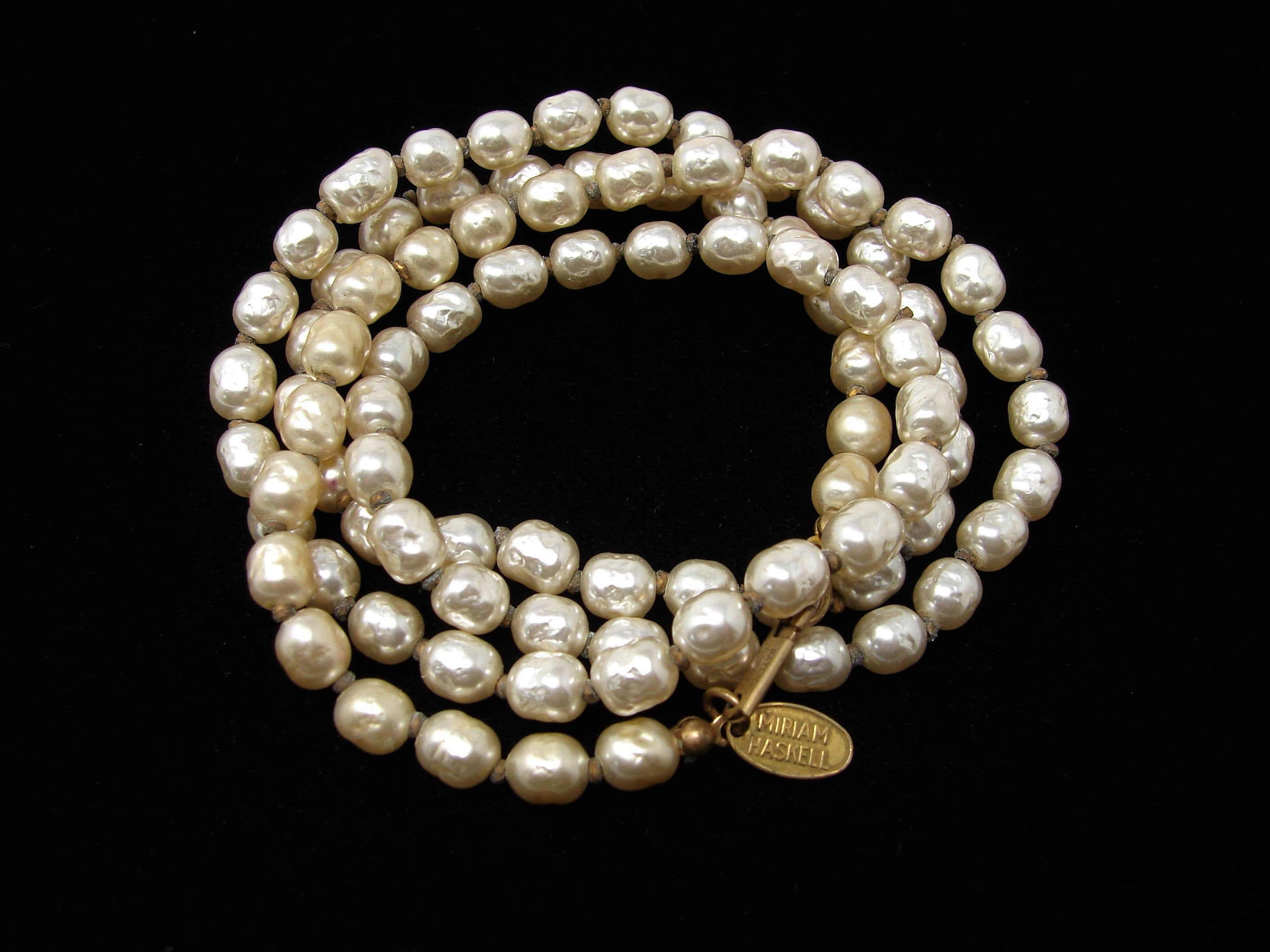 Vintage 40s Timeless Elegant Triple Strand Faux Pearl Signed Miriam Haskell  Ladies Necklace Bridal Gift for Her