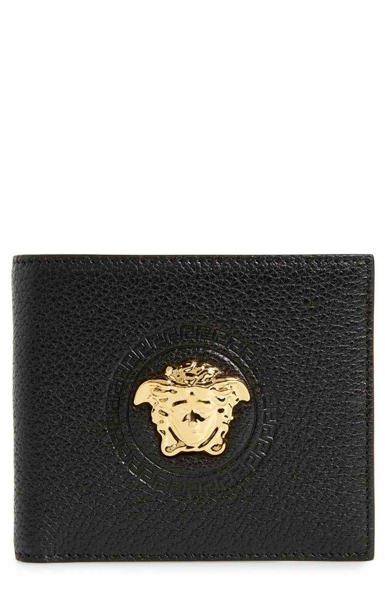 54356148ab VERSACE | Gold Medusa Leather Wallet - Black Warm Gold | CAD 588.10 | The  iconic Medusa-head insignia brands the exterior of a beautifully grained  leather ...