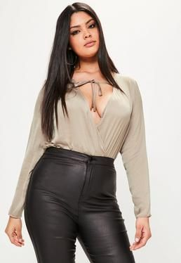 Plus Size Brown Hammered Satin Plunge Bodysuit Bardot Tops