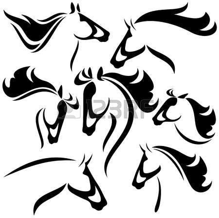 Cheval dessin t te de cheval d crit vector set de fines - Dessin cheval de trait ...