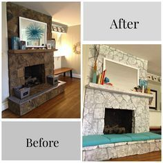 Painting A Stone Fireplace Finally I Did It Painted Stone Fireplace Fireplace Remodel Stone Fireplace Makeover