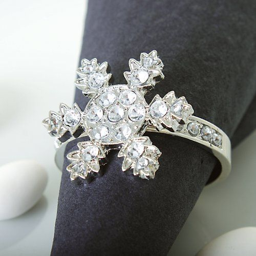 Diamante Snowflake Napkin Rings #Wedding #Weddings #WinterWedding #ChristmasWedding