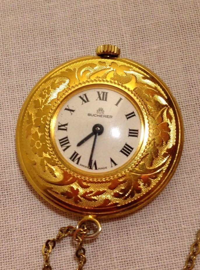 Vintage ladies bucherer necklace pendant watch 999 6 gold colored vintage ladies bucherer necklace pendant watch 999 6 gold colored works great bucherer mozeypictures Choice Image