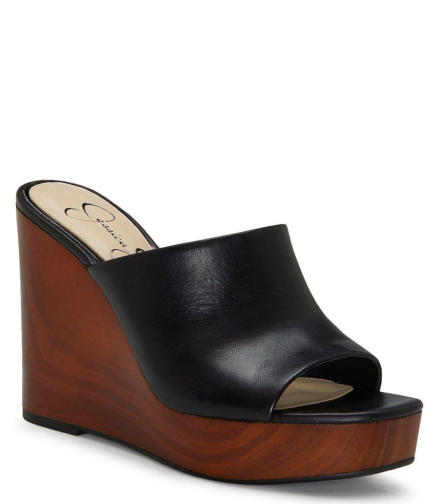 d58d8793e5704 Jessica Simpson Shantelle Leather Wedges in 2019