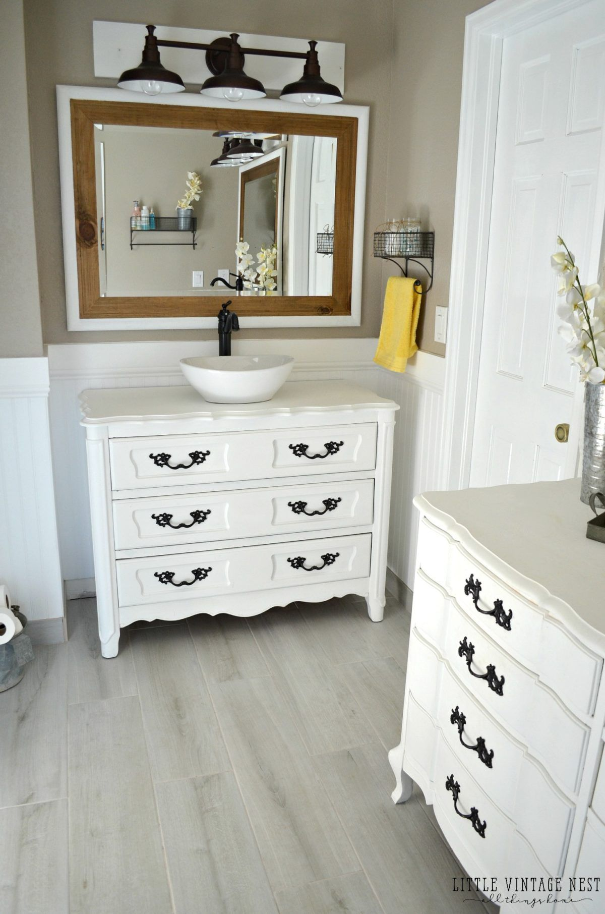 Step By Step Tutorial To Turn An Old Dresser Into Bathroom Vanity Dresser Vanity Bathroom Bathroom Vanity Redo Farmhouse Style Bathroom Vanity [ 1812 x 1200 Pixel ]
