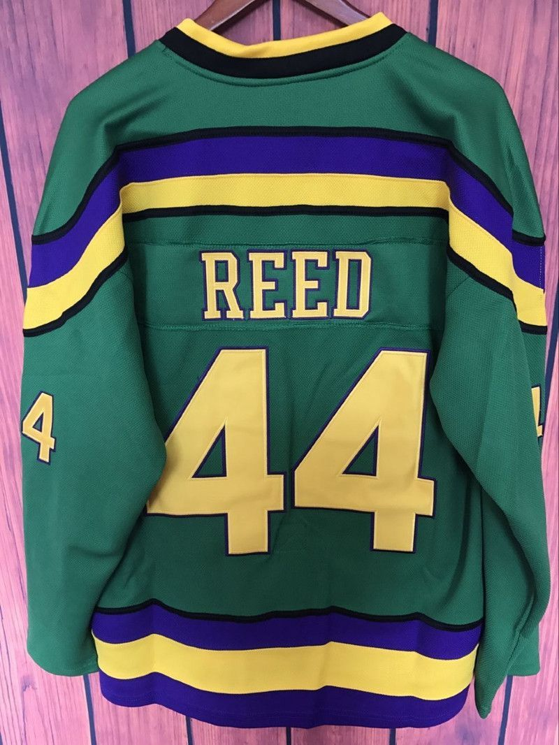 Ej mighty ducks movie jersey 44 fulton reed hockey jersey