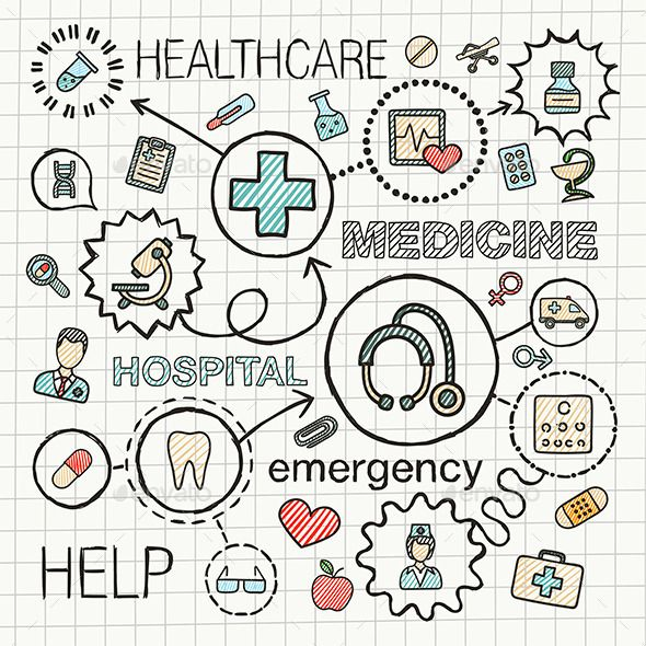 Medical Sketch Concept With Hand Draw Doodle Icons How To Draw