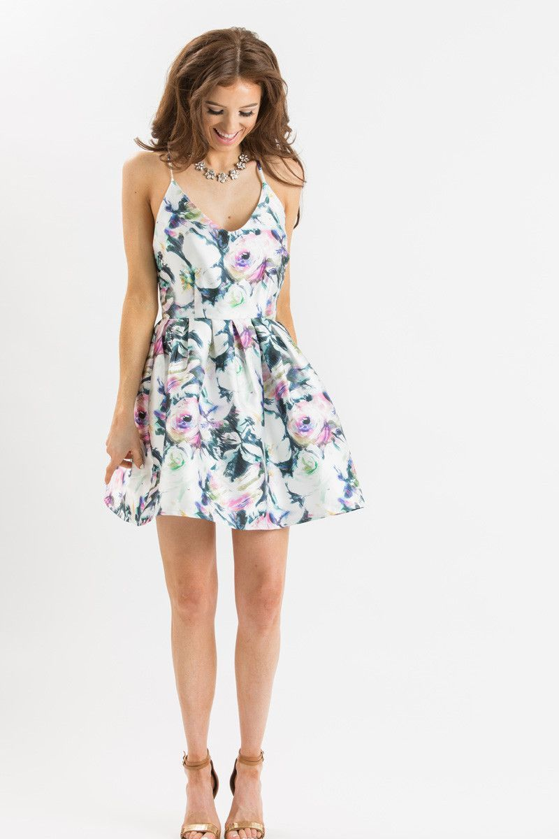 Cassie Multicolor Floral Fit And Flare Dress Wedding Guest Dress Summer Floral Dress Wedding Guest Beach Wedding Guest Dress