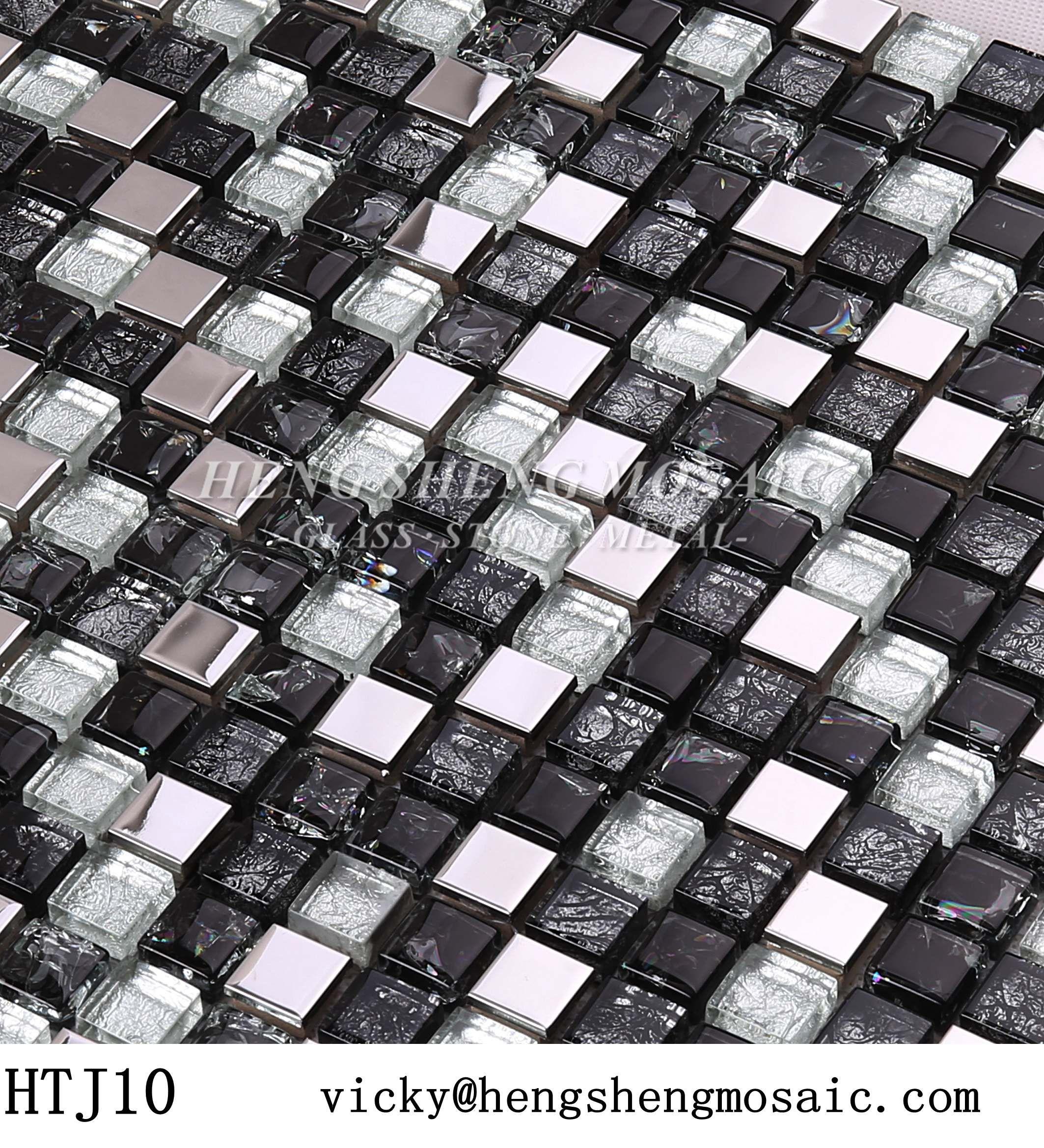 Classical Mini Glass Gold Foiled Mix Metal Stainless Steel Mosaic Tile For Kitchen Backsplash Wall Blacktile Blackmosa Mosaic Glass Black Mosaic Black Tiles