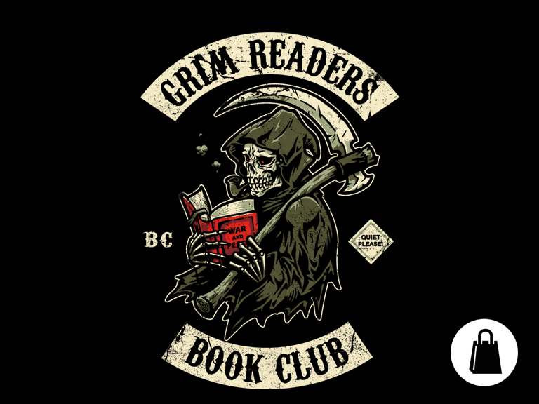 Reminds me of Discworld. Grim+Readers+Book+Club+Tote