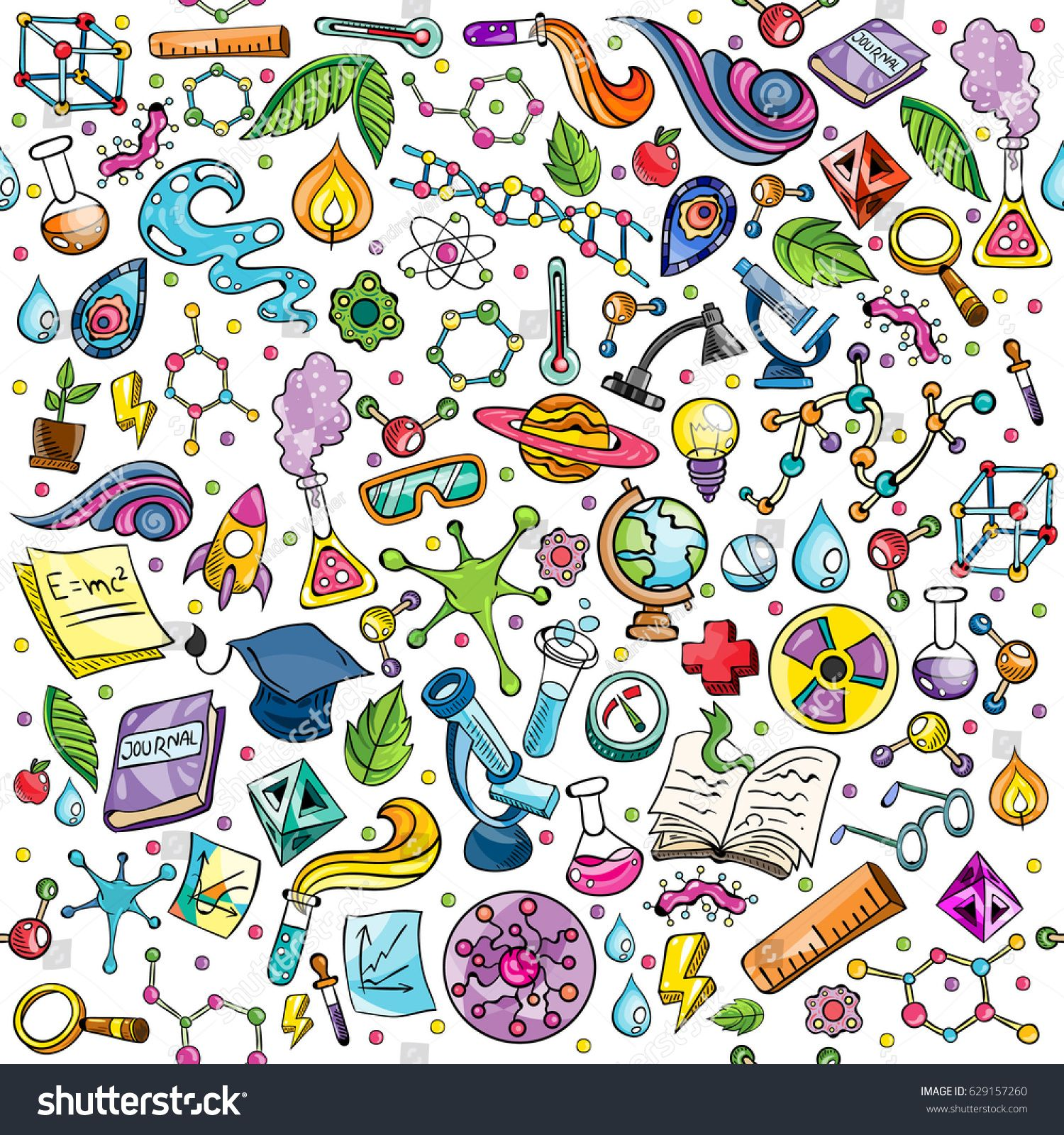 Science Design For Notebook: Science Illustration With Colourful Molecules Seamless