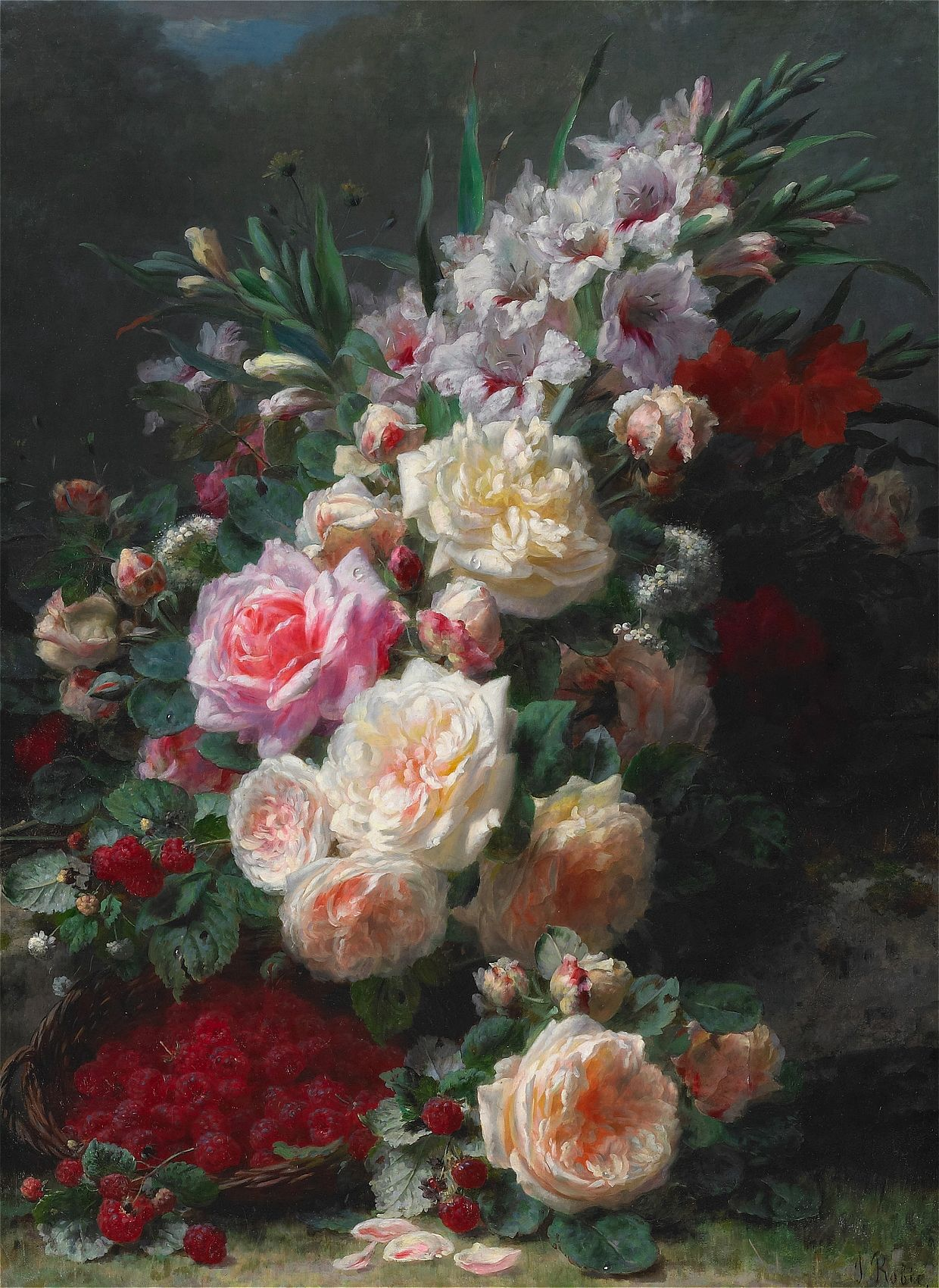 Jean-Baptiste Robie - 1821-1910 - Still Life with Roses