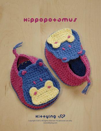 Hippopotamus Baby Booties Crochet PATTERN Kittying Crochet Pattern ...