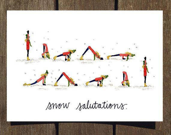 Snow Salutations Yoga Holiday Card Blank Inside Yoga