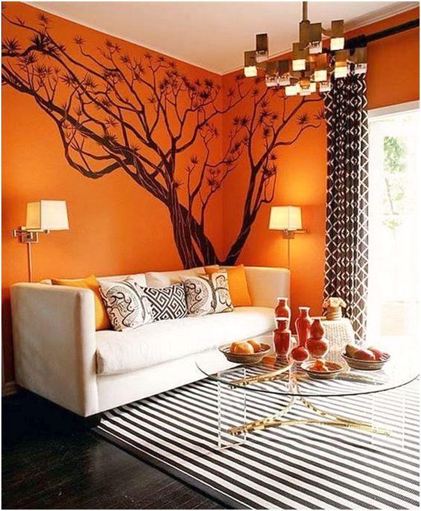 Desain Ruang Tamu Minimalis Mungil Unik Modern Mewah Sederhana Warna Orange 3x3 Terbaru Orange Decor Tree Wall Decal Orange Wall