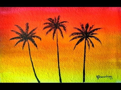 How To Paint A Sunset With Palm Trees In Watercolor Paint With