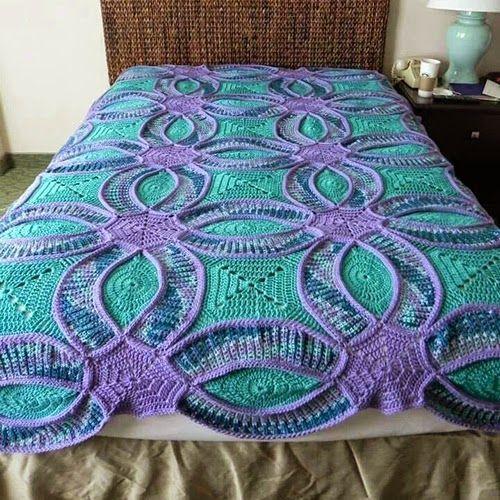 How to Crochet Wedding Ring Quilt | Crochet | Pinterest | Deckchen ...