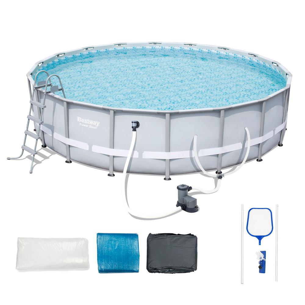 Bestway 18 Ft W X 48 In D Steel Pro Framed Round Above Ground Pool Set With Pump 74883 The Home Depot Round Above Ground Pool Bestway In Ground Pools