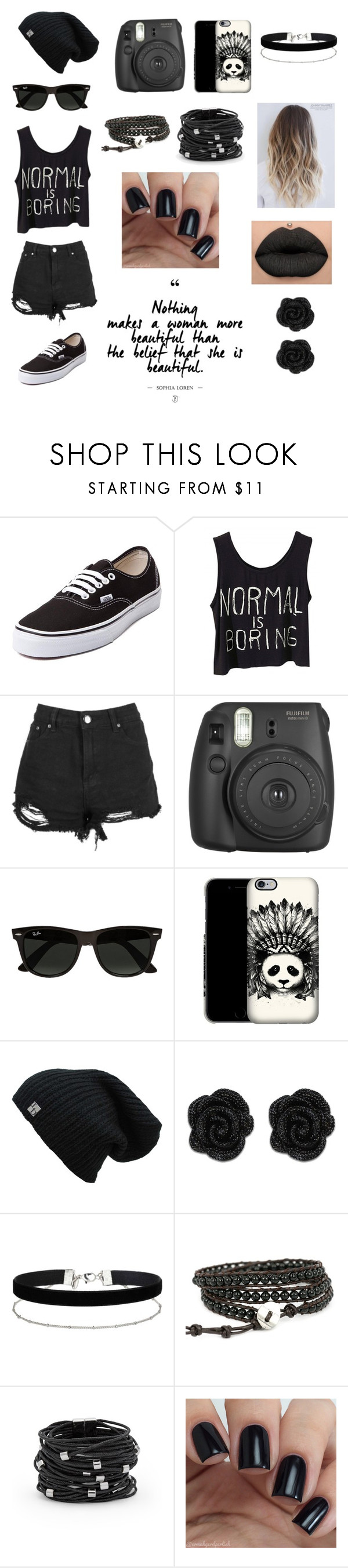 """""""Black is my color"""" by majotadussan ❤ liked on Polyvore featuring Vans, Ray-Ban, Miss Selfridge and Chico's"""