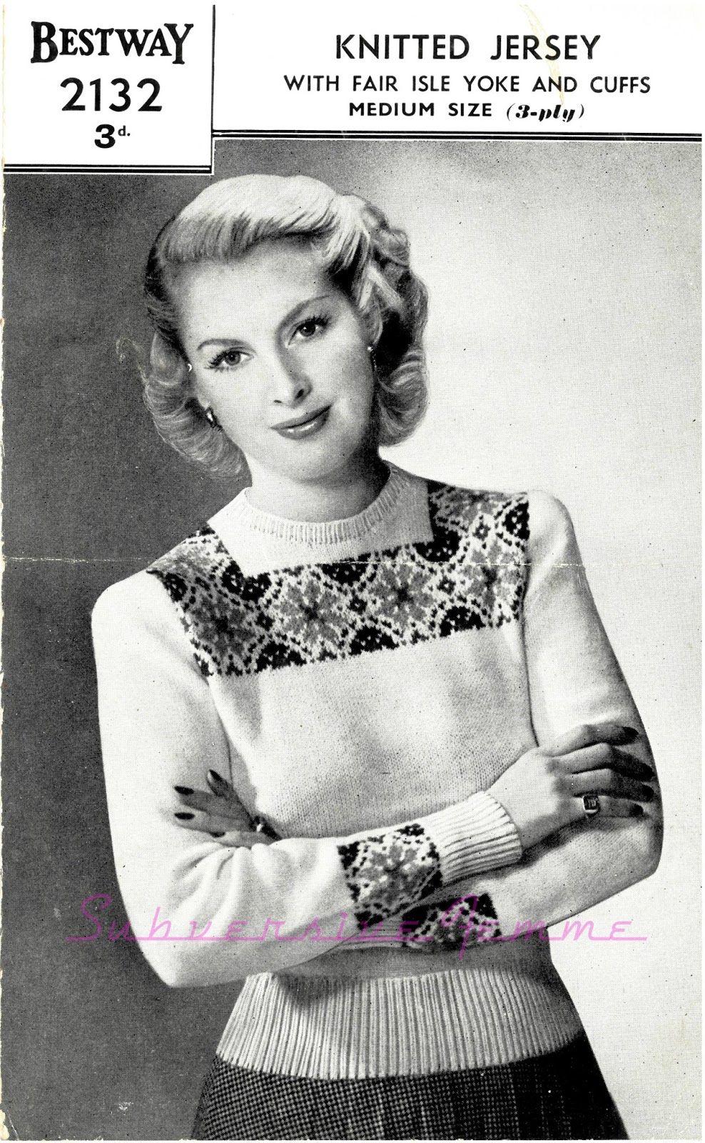 Subversive femme free vintage knitting pattern a fair isle subversive femme free vintage knitting pattern a fair isle jumper from bestway 2132 bankloansurffo Gallery