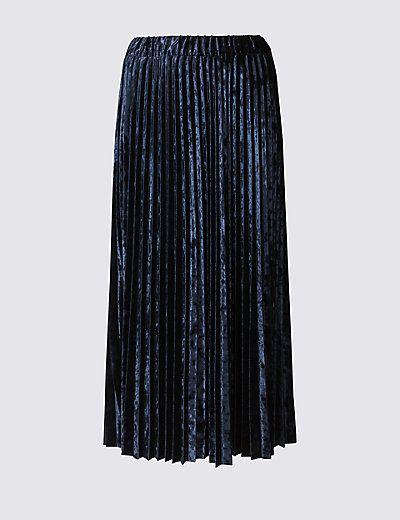 e79d7b25fb Velvet Pleated A-Line Midi Skirt | Style Wish List | Velvet pleated ...