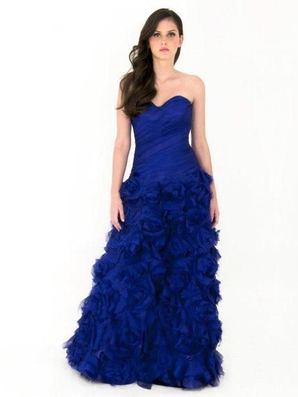 Vestido de fiesta azul rey