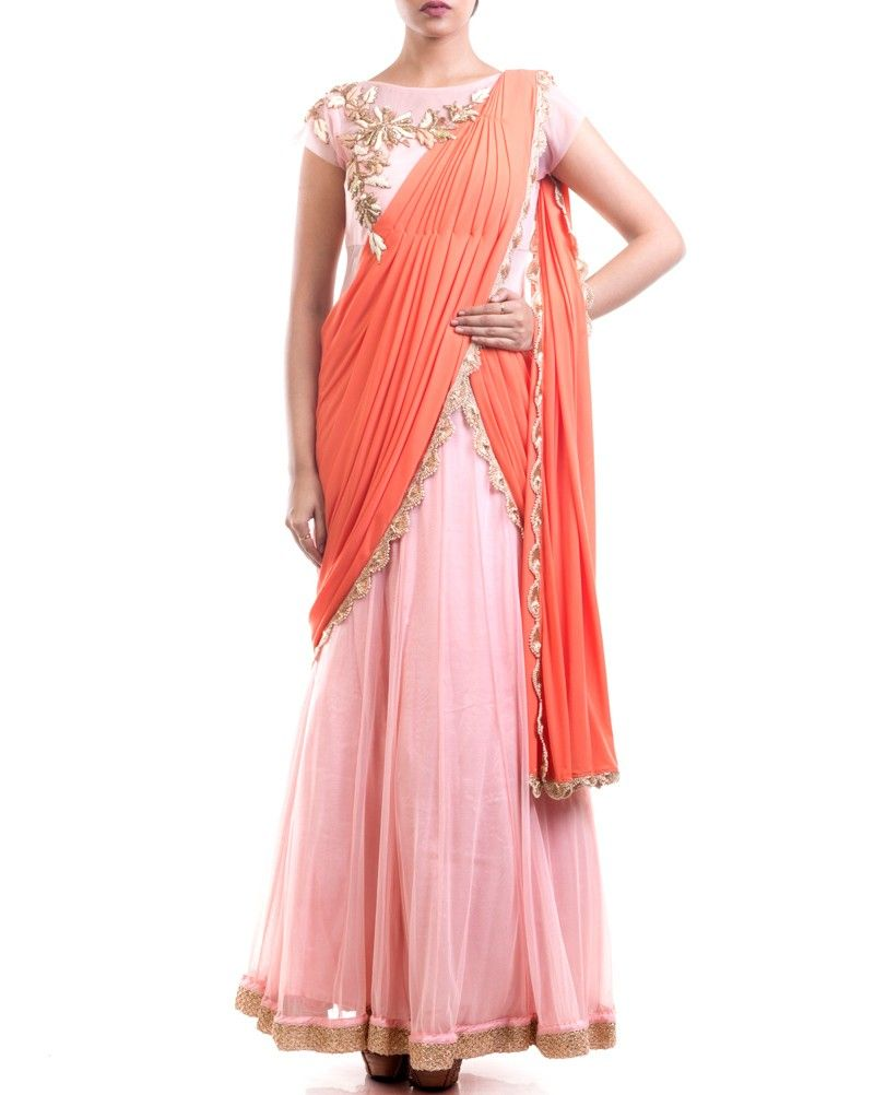 Look breathtakingly pretty by wearing this readymade draped